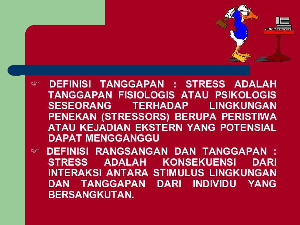  DEFINISI TANGGAPAN : STRESS ADALAH TANGGAPAN FISIOLOGIS ATAU PSIKOLOGIS SESEORANG TERHADAP LINGKUNGAN PENEKAN (STRESSORS) BERUPA PERISTIWA ATAU KEJA