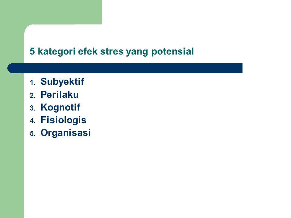 1. Subyektif 2. Perilaku 3. Kognotif 4. Fisiologis 5. Organisasi 5 kategori efek stres yang potensial