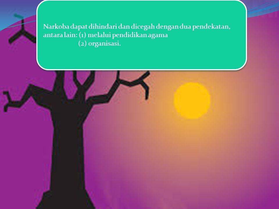 Narkoba dapat dihindari dan dicegah dengan dua pendekatan, antara lain: (1) melalui pendidikan agama (2) organisasi. Narkoba dapat dihindari dan diceg