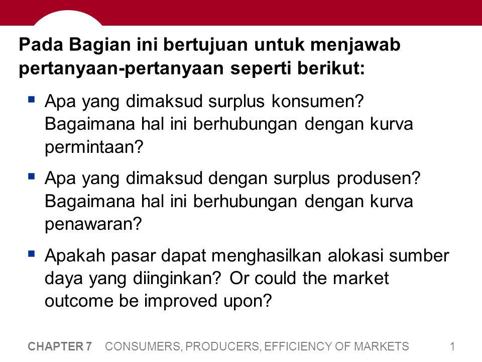 22 CHAPTER 7 CONSUMERS, PRODUCERS, EFFICIENCY OF MARKETS Surplus Produsen P Q Surplus Produsen (PS): harga yang diterima penjual untuk suatu barang dikurangi biaya dalam memproduksi barang tersebut.