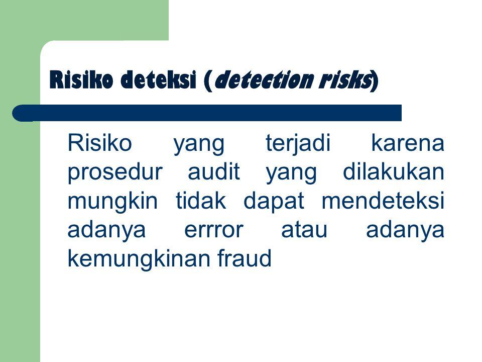 Risiko deteksi (detection risks) Risiko yang terjadi karena prosedur audit yang dilakukan mungkin tidak dapat mendeteksi adanya errror atau adanya kemungkinan fraud