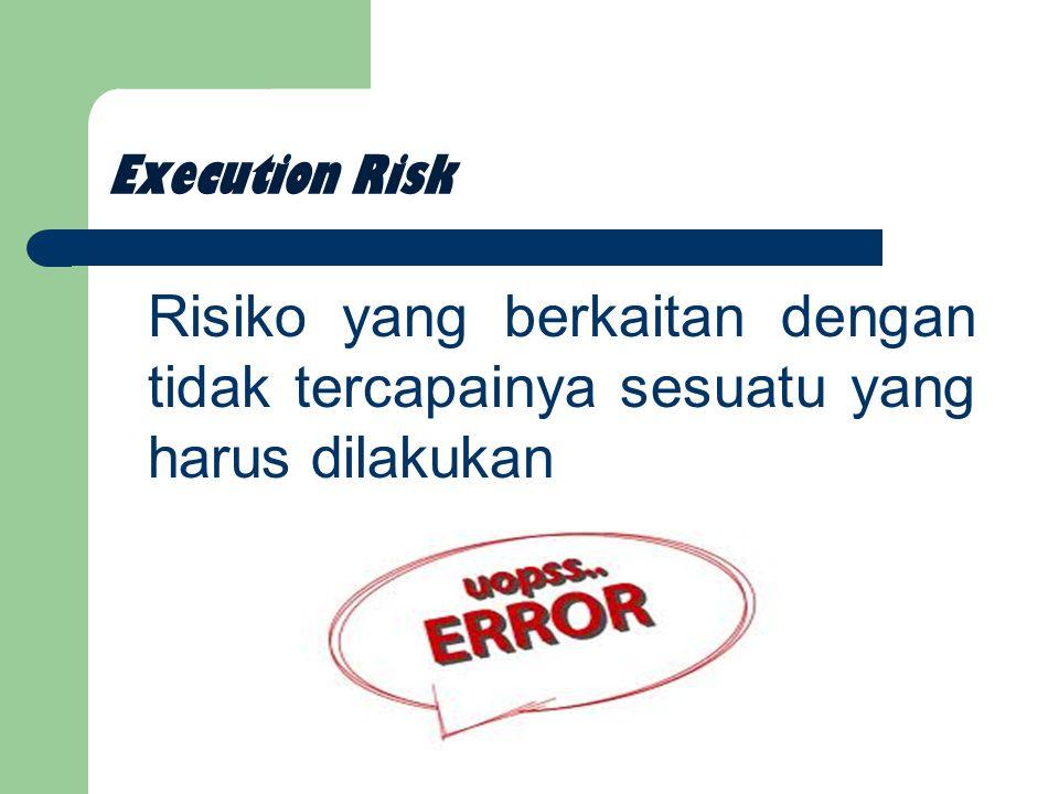 Execution Risk Risiko yang berkaitan dengan tidak tercapainya sesuatu yang harus dilakukan