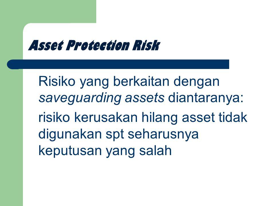 Asset Protection Risk Risiko yang berkaitan dengan saveguarding assets diantaranya: risiko kerusakan hilang asset tidak digunakan spt seharusnya keputusan yang salah