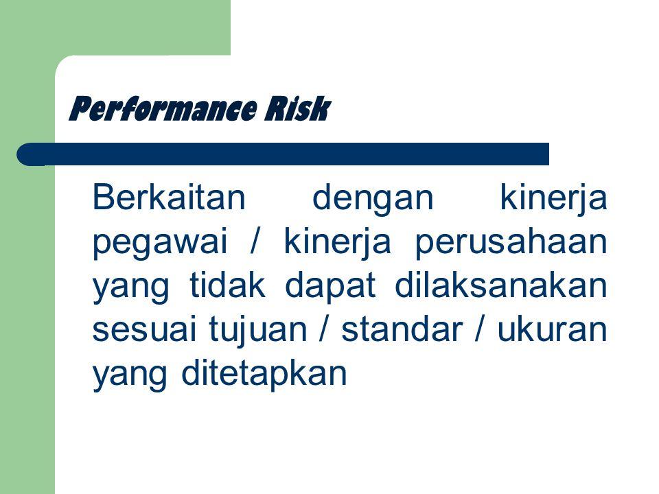 Performance Risk Berkaitan dengan kinerja pegawai / kinerja perusahaan yang tidak dapat dilaksanakan sesuai tujuan / standar / ukuran yang ditetapkan