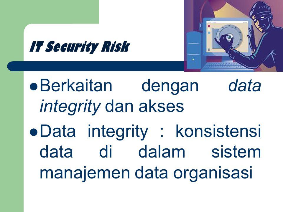 IT Security Risk Berkaitan dengan data integrity dan akses Data integrity : konsistensi data di dalam sistem manajemen data organisasi