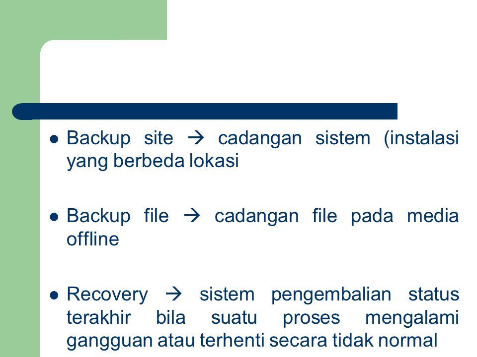 Backup site  cadangan sistem (instalasi yang berbeda lokasi Backup file  cadangan file pada media offline Recovery  sistem pengembalian status terakhir bila suatu proses mengalami gangguan atau terhenti secara tidak normal