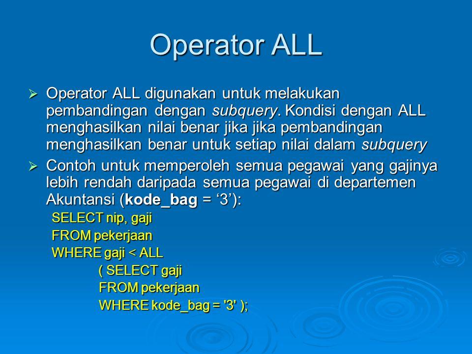 Operator ALL  Operator ALL digunakan untuk melakukan pembandingan dengan subquery.