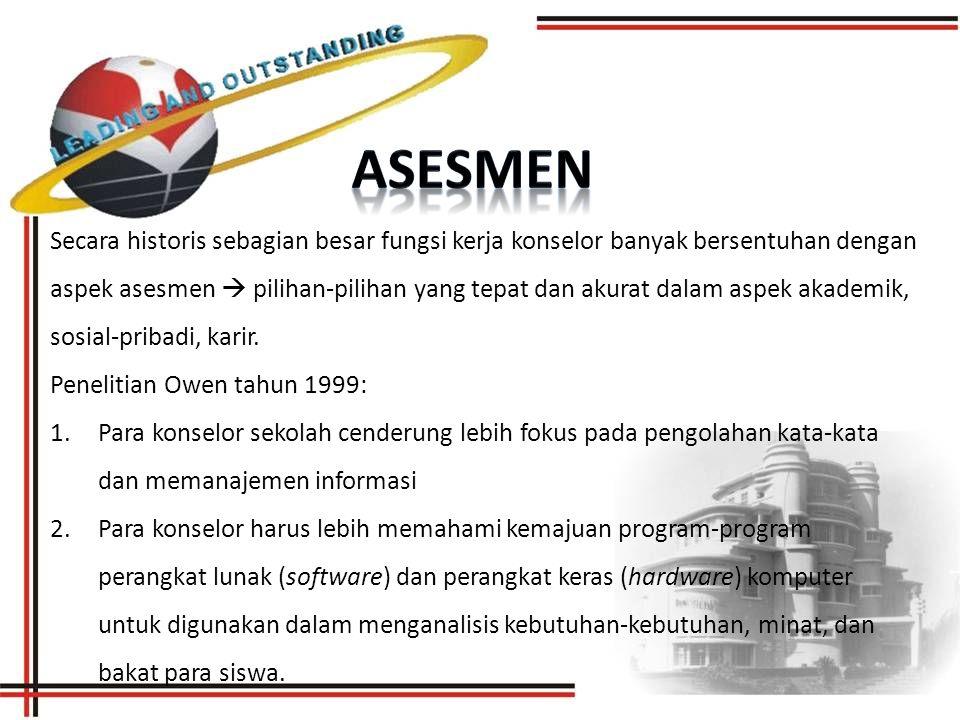 Secara historis sebagian besar fungsi kerja konselor banyak bersentuhan dengan aspek asesmen  pilihan-pilihan yang tepat dan akurat dalam aspek akademik, sosial-pribadi, karir.