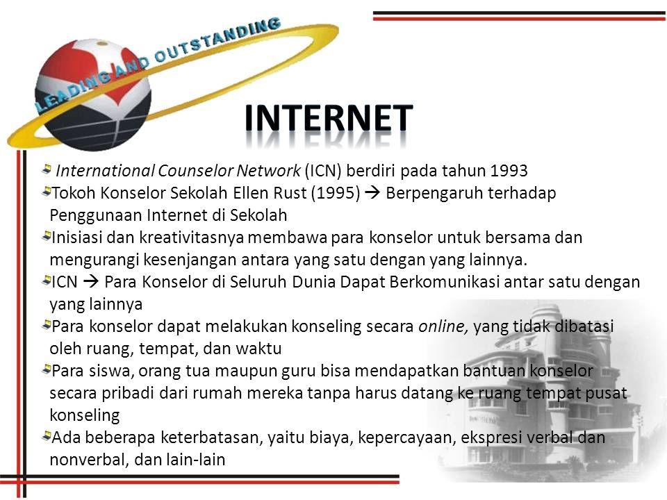 International Counselor Network (ICN) berdiri pada tahun 1993 Tokoh Konselor Sekolah Ellen Rust (1995)  Berpengaruh terhadap Penggunaan Internet di Sekolah Inisiasi dan kreativitasnya membawa para konselor untuk bersama dan mengurangi kesenjangan antara yang satu dengan yang lainnya.