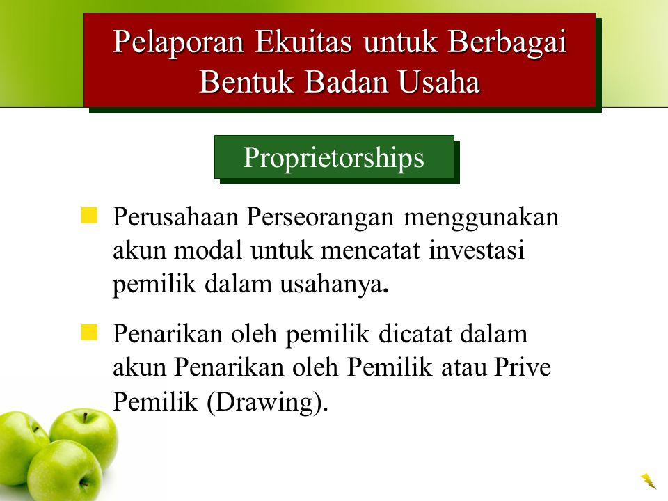 Pelaporan Ekuitas untuk Berbagai Bentuk Badan Usaha Proprietorships Perusahaan Perseorangan menggunakan akun modal untuk mencatat investasi pemilik da