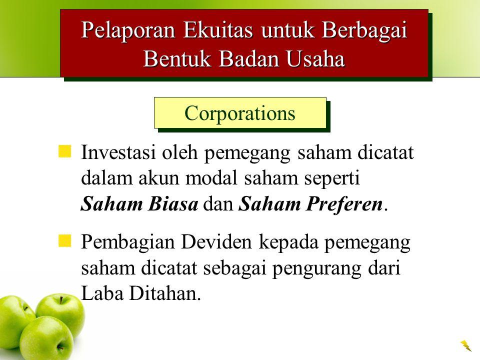 Pelaporan Ekuitas untuk Berbagai Bentuk Badan Usaha Corporations Investasi oleh pemegang saham dicatat dalam akun modal saham seperti Saham Biasa dan Saham Preferen.