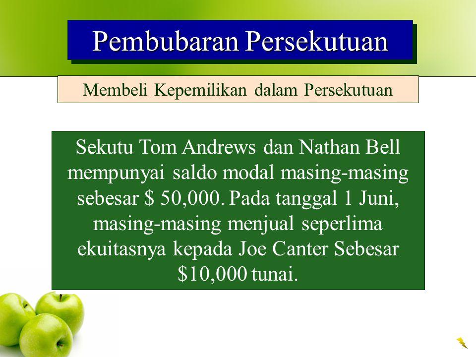 Pembubaran Persekutuan Membeli Kepemilikan dalam Persekutuan Sekutu Tom Andrews dan Nathan Bell mempunyai saldo modal masing-masing sebesar $ 50,000.