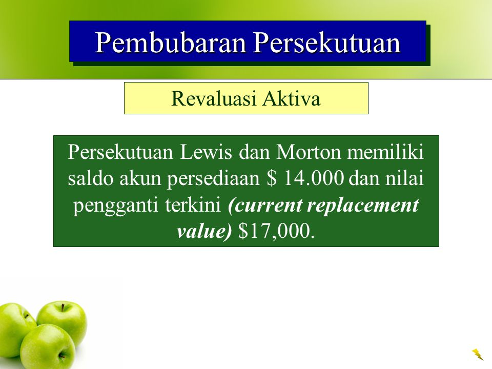 Pembubaran Persekutuan Revaluasi Aktiva Persekutuan Lewis dan Morton memiliki saldo akun persediaan $ 14.000 dan nilai pengganti terkini (current replacement value) $17,000.