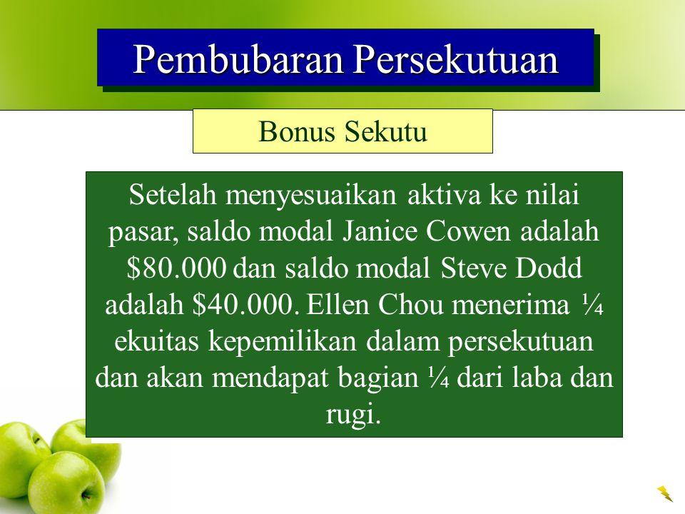 Pembubaran Persekutuan Bonus Sekutu Setelah menyesuaikan aktiva ke nilai pasar, saldo modal Janice Cowen adalah $80.000 dan saldo modal Steve Dodd adalah $40.000.