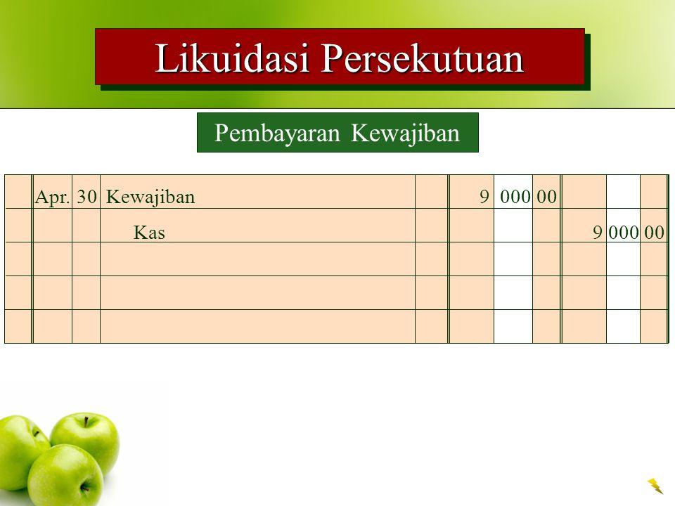 Likuidasi Persekutuan Pembayaran Kewajiban Apr.30Kewajiban9 000 00 Kas9 000 00