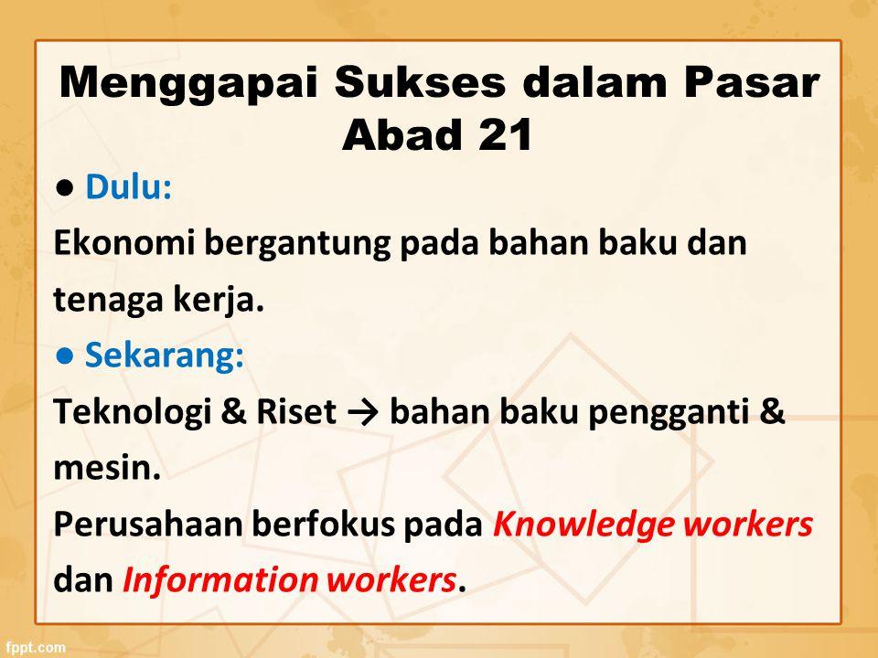 Menggapai Sukses dalam Pasar Abad 21 ● Dulu: Ekonomi bergantung pada bahan baku dan tenaga kerja. ● Sekarang: Teknologi & Riset → bahan baku pengganti
