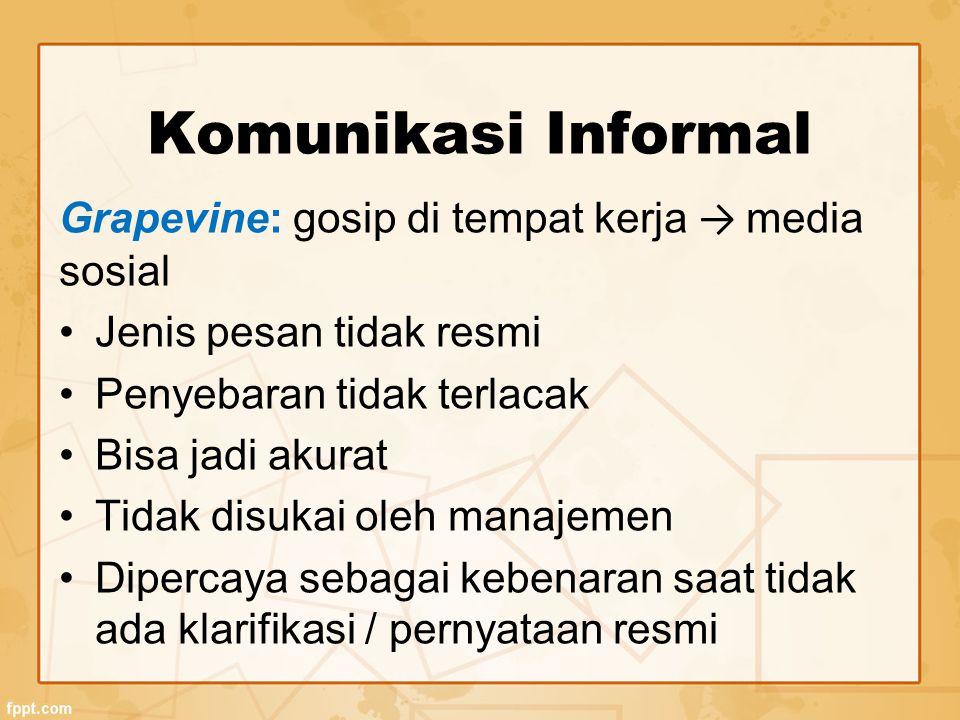 Komunikasi Informal Grapevine: gosip di tempat kerja → media sosial Jenis pesan tidak resmi Penyebaran tidak terlacak Bisa jadi akurat Tidak disukai oleh manajemen Dipercaya sebagai kebenaran saat tidak ada klarifikasi / pernyataan resmi