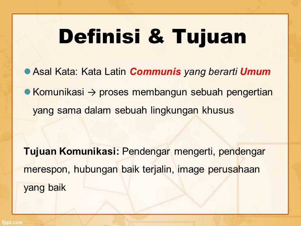Definisi & Tujuan Asal Kata: Kata Latin Communis yang berarti Umum Komunikasi → proses membangun sebuah pengertian yang sama dalam sebuah lingkungan khusus Tujuan Komunikasi: Pendengar mengerti, pendengar merespon, hubungan baik terjalin, image perusahaan yang baik