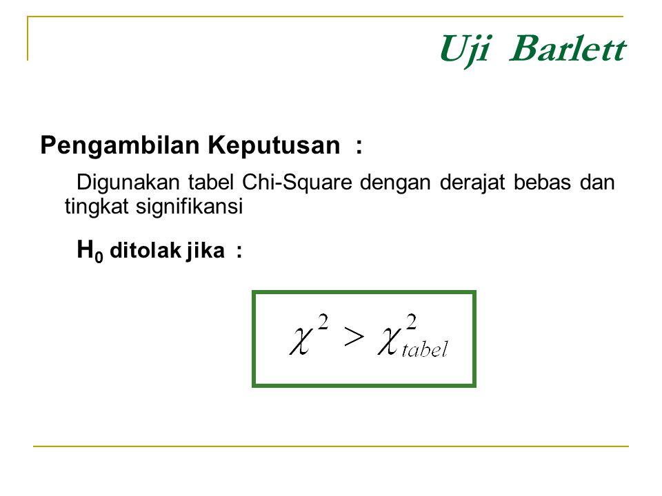 Uji Barlett Pengambilan Keputusan : Digunakan tabel Chi-Square dengan derajat bebas dan tingkat signifikansi H 0 ditolak jika :
