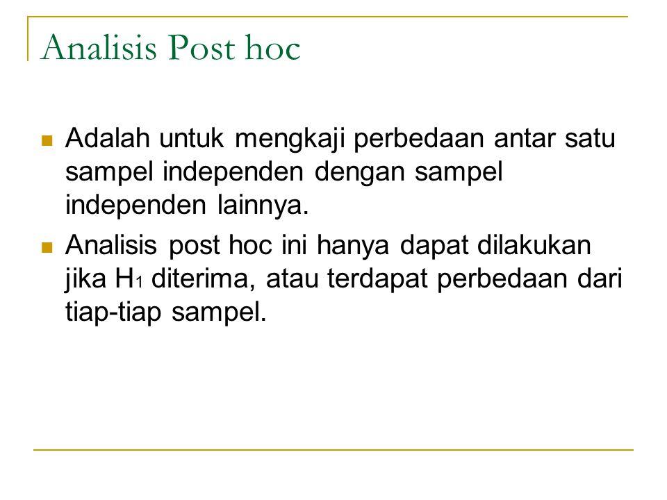 Analisis Post hoc Adalah untuk mengkaji perbedaan antar satu sampel independen dengan sampel independen lainnya. Analisis post hoc ini hanya dapat dil
