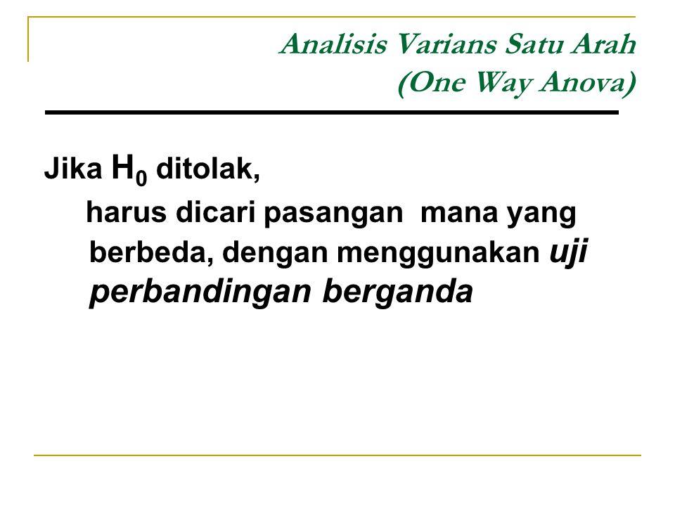 Analisis Varians Satu Arah (One Way Anova) Jika H 0 ditolak, harus dicari pasangan mana yang berbeda, dengan menggunakan uji perbandingan berganda