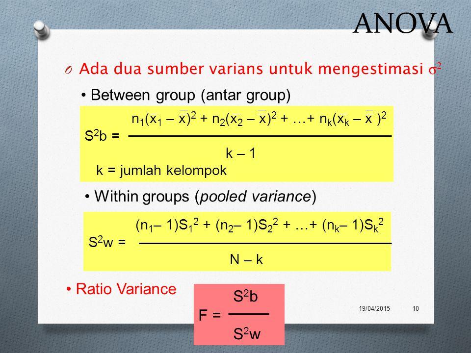 ANOVA O Ada dua sumber varians untuk mengestimasi σ 2 19/04/201510 n 1 (x 1 – x) 2 + n 2 (x 2 – x) 2 + …+ n k (x k – x ) 2 S 2 b = k – 1 k = jumlah ke