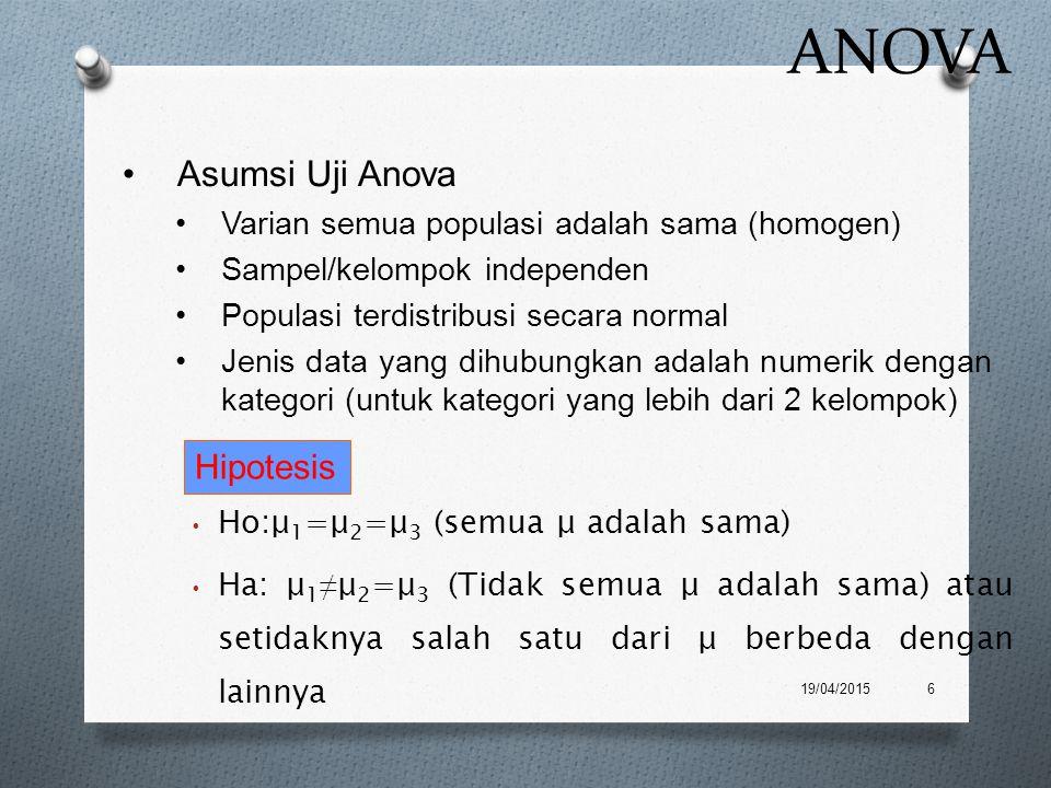 ANOVA Ho:μ 1 =μ 2 =μ 3 (semua μ adalah sama) Ha: μ 1 ≠ μ 2 =μ 3 (Tidak semua μ adalah sama) atau setidaknya salah satu dari μ berbeda dengan lainnya 1