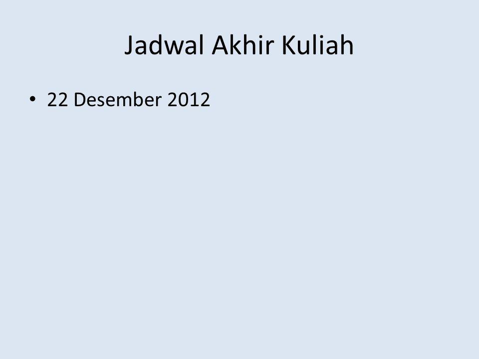 Jadwal Akhir Kuliah 22 Desember 2012