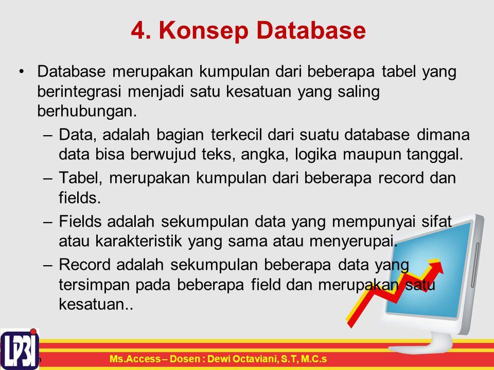 4. Konsep Database Database merupakan kumpulan dari beberapa tabel yang berintegrasi menjadi satu kesatuan yang saling berhubungan. –Data, adalah bagi