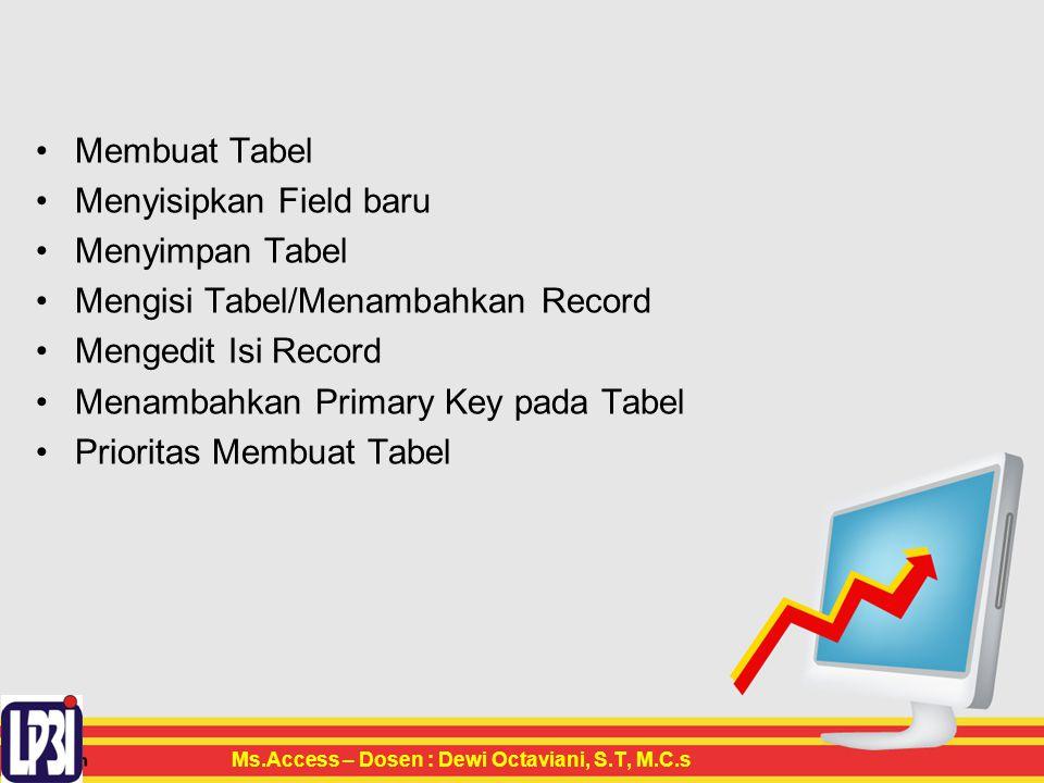 Membuat Tabel Menyisipkan Field baru Menyimpan Tabel Mengisi Tabel/Menambahkan Record Mengedit Isi Record Menambahkan Primary Key pada Tabel Prioritas Membuat Tabel Ms.Access – Dosen : Dewi Octaviani, S.T, M.C.s