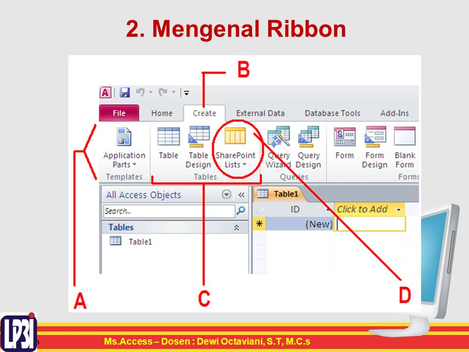 2. Mengenal Ribbon Ms.Access – Dosen : Dewi Octaviani, S.T, M.C.s