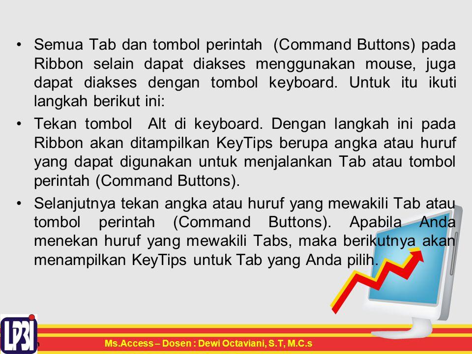 Semua Tab dan tombol perintah (Command Buttons) pada Ribbon selain dapat diakses menggunakan mouse, juga dapat diakses dengan tombol keyboard.
