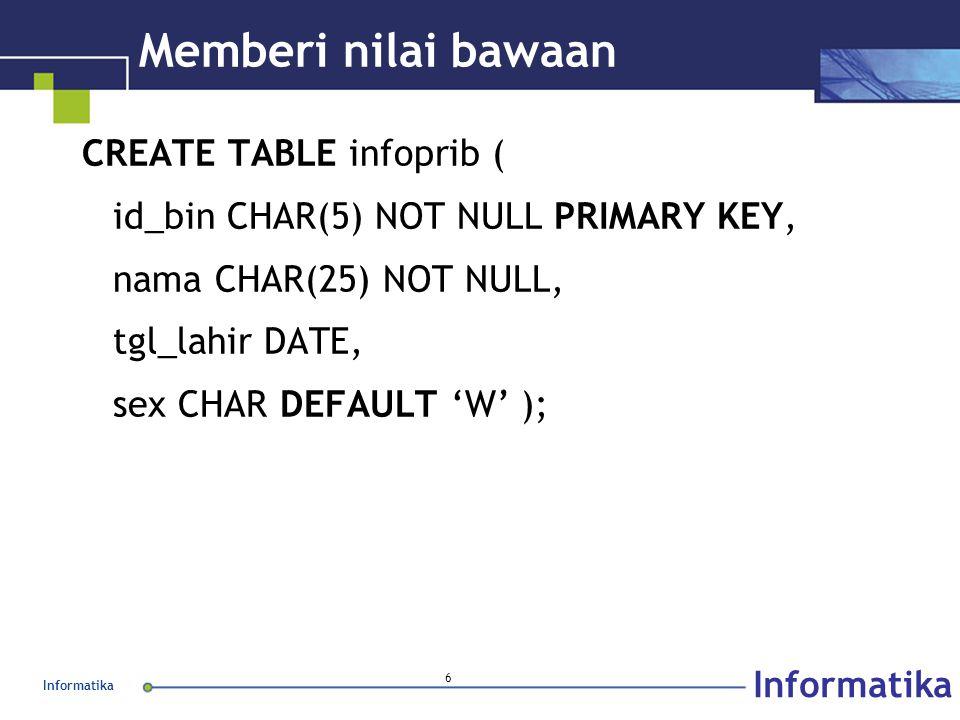 Informatika 6 Memberi nilai bawaan CREATE TABLE infoprib ( id_bin CHAR(5) NOT NULL PRIMARY KEY, nama CHAR(25) NOT NULL, tgl_lahir DATE, sex CHAR DEFAULT 'W' );