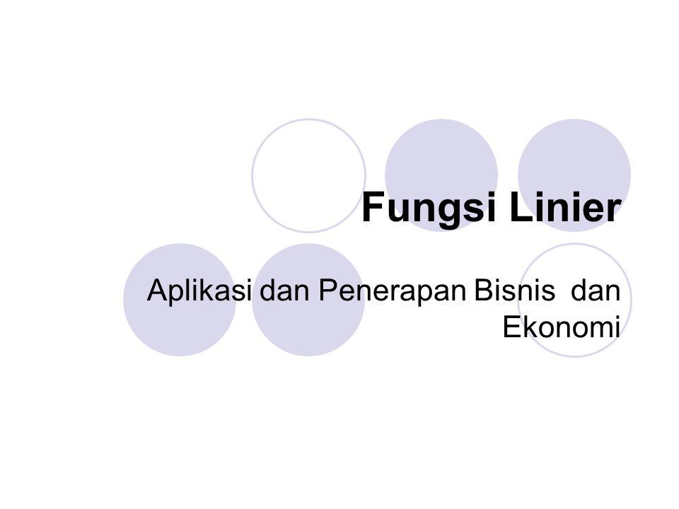 Fungsi Linier Aplikasi dan Penerapan Bisnis dan Ekonomi