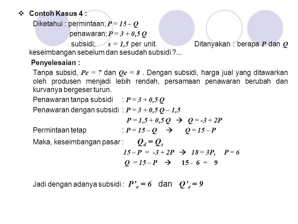  Contoh Kasus 4 : Diketahui : permintaan; P = 15 – Q penawaran; P = 3 + 0,5 Q subsidi; s = 1,5 per unit. Ditanyakan : berapa P dan Q keseimbangan seb