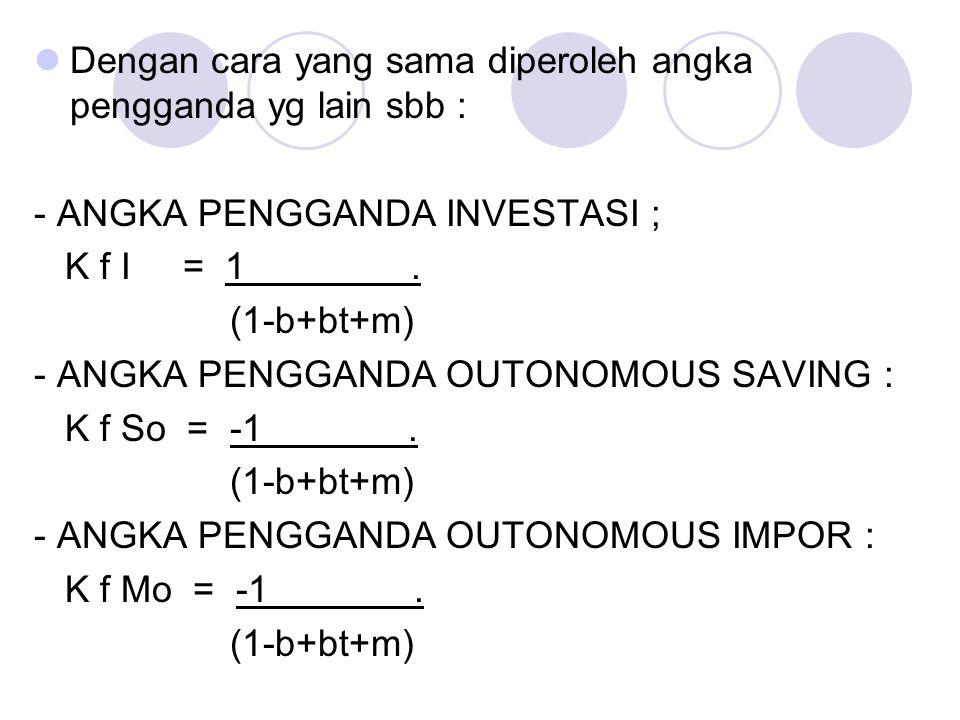 Dengan cara yang sama diperoleh angka pengganda yg lain sbb : - ANGKA PENGGANDA INVESTASI ; K f I = 1. (1-b+bt+m) - ANGKA PENGGANDA OUTONOMOUS SAVING