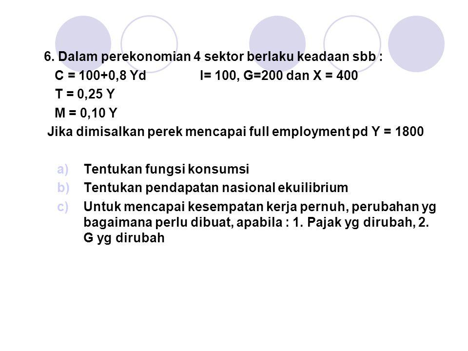 6. Dalam perekonomian 4 sektor berlaku keadaan sbb : C = 100+0,8 Yd I= 100, G=200 dan X = 400 T = 0,25 Y M = 0,10 Y Jika dimisalkan perek mencapai ful
