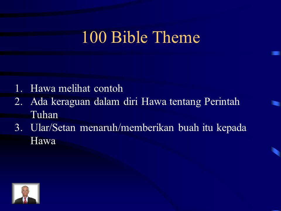 100 Bible Theme 1.Hawa melihat contoh 2.Ada keraguan dalam diri Hawa tentang Perintah Tuhan 3.Ular/Setan menaruh/memberikan buah itu kepada Hawa