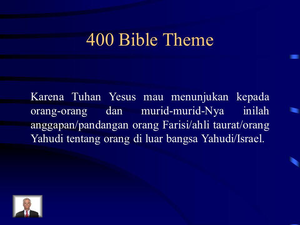 400 Bible Theme Karena Tuhan Yesus mau menunjukan kepada orang-orang dan murid-murid-Nya inilah anggapan/pandangan orang Farisi/ahli taurat/orang Yahu
