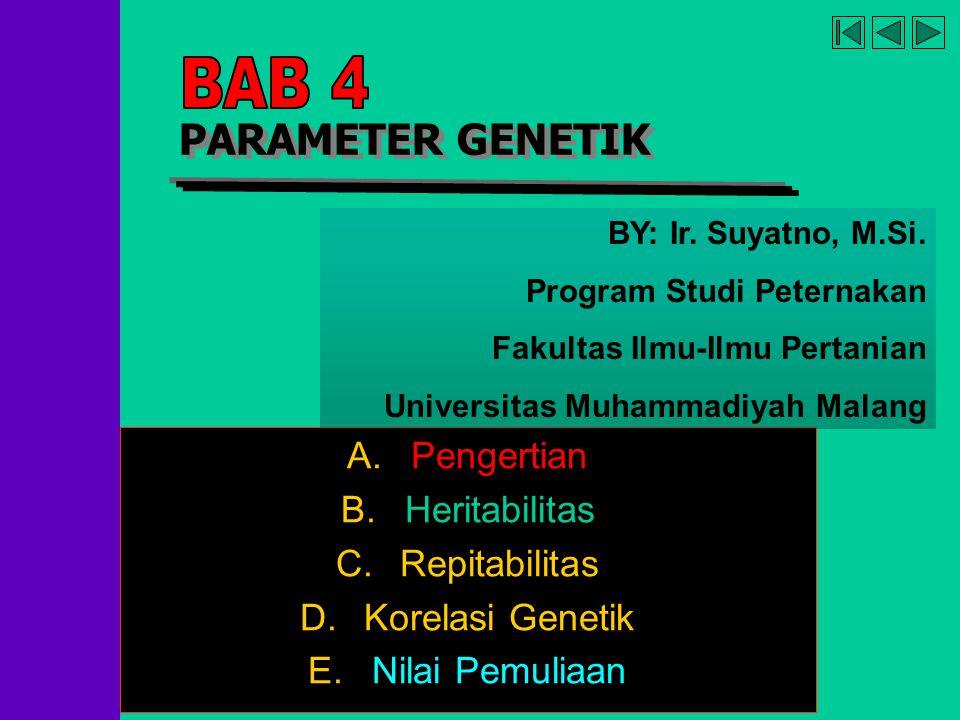company name organization PARAMETER GENETIK A.Pengertian B.Heritabilitas C.Repitabilitas D.Korelasi Genetik E.Nilai Pemuliaan BY: Ir. Suyatno, M.Si. P