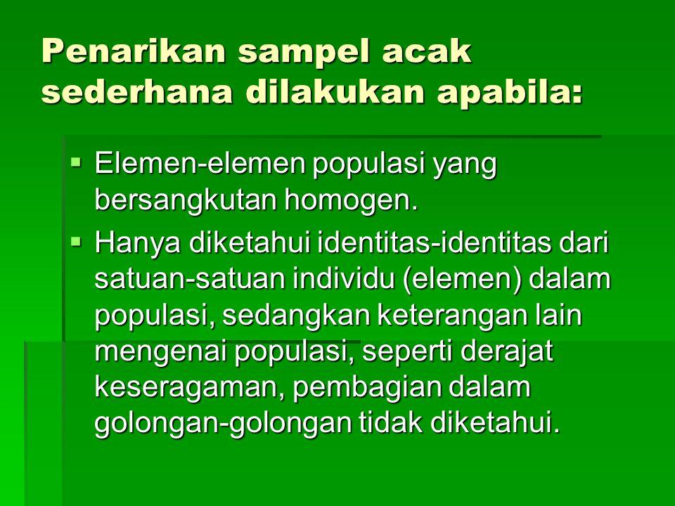 Penarikan sampel acak sederhana dilakukan apabila:  Elemen-elemen populasi yang bersangkutan homogen.  Hanya diketahui identitas-identitas dari satu