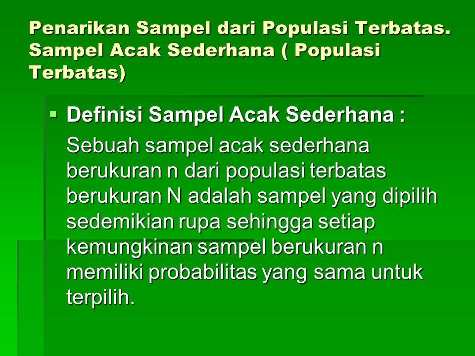 Penarikan Sampel dari Populasi Terbatas. Sampel Acak Sederhana ( Populasi Terbatas)  Definisi Sampel Acak Sederhana : Sebuah sampel acak sederhana be