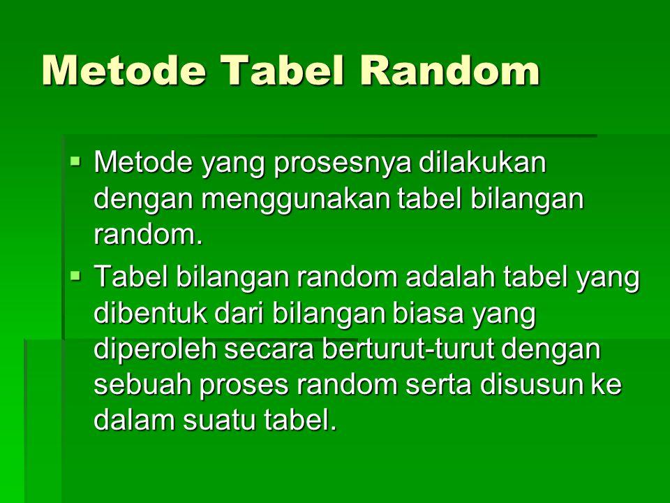 Metode Tabel Random  Metode yang prosesnya dilakukan dengan menggunakan tabel bilangan random.  Tabel bilangan random adalah tabel yang dibentuk dar