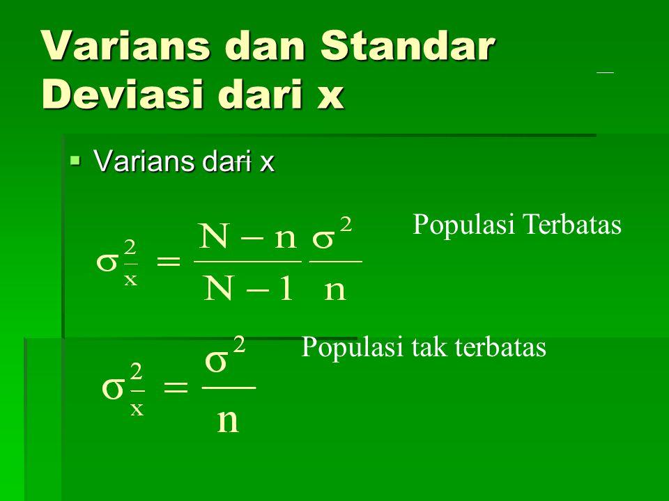 Varians dan Standar Deviasi dari x  Varians dari x Populasi Terbatas Populasi tak terbatas