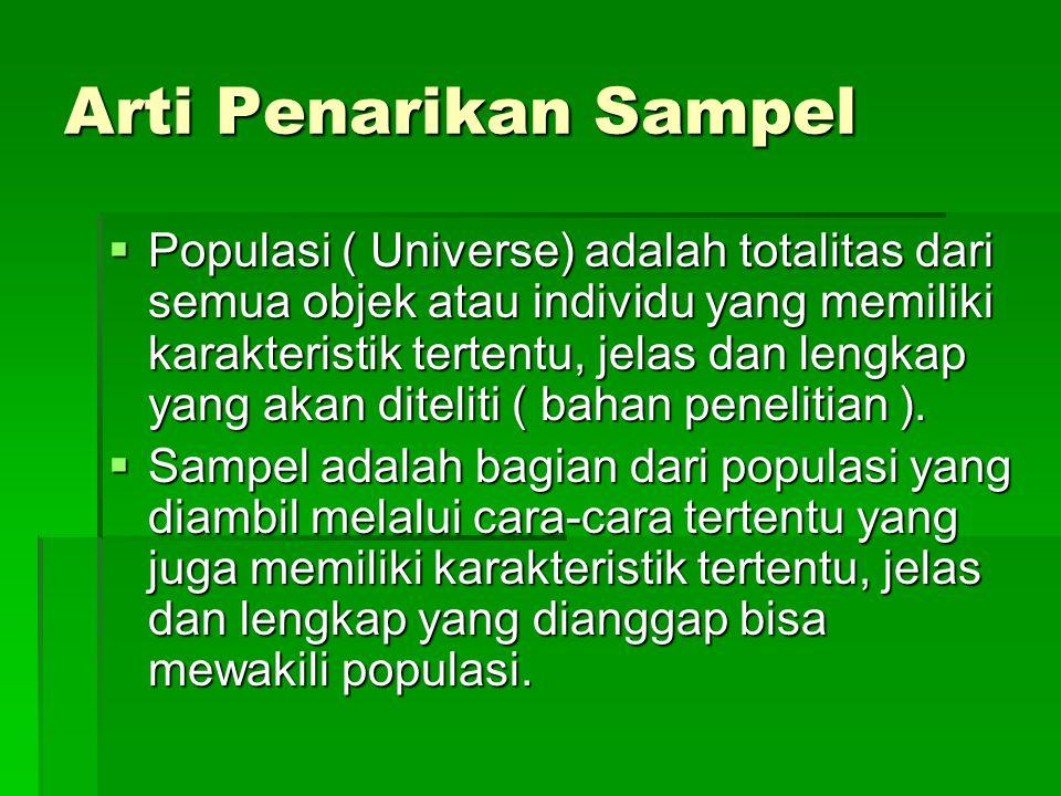 Arti Penarikan Sampel  Populasi ( Universe) adalah totalitas dari semua objek atau individu yang memiliki karakteristik tertentu, jelas dan lengkap y