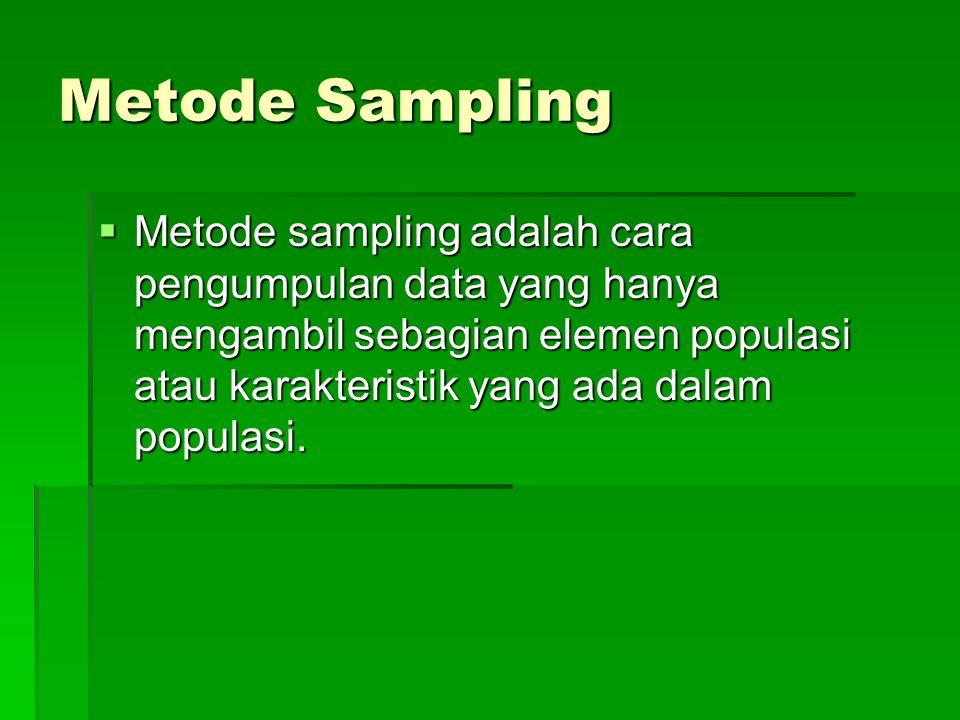 Metode Sampling  Metode sampling adalah cara pengumpulan data yang hanya mengambil sebagian elemen populasi atau karakteristik yang ada dalam populas