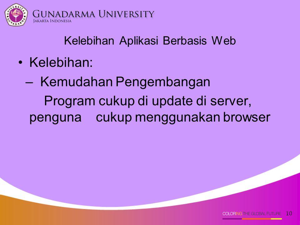 10 Kelebihan Aplikasi Berbasis Web Kelebihan: – Kemudahan Pengembangan Program cukup di update di server, penguna cukup menggunakan browser