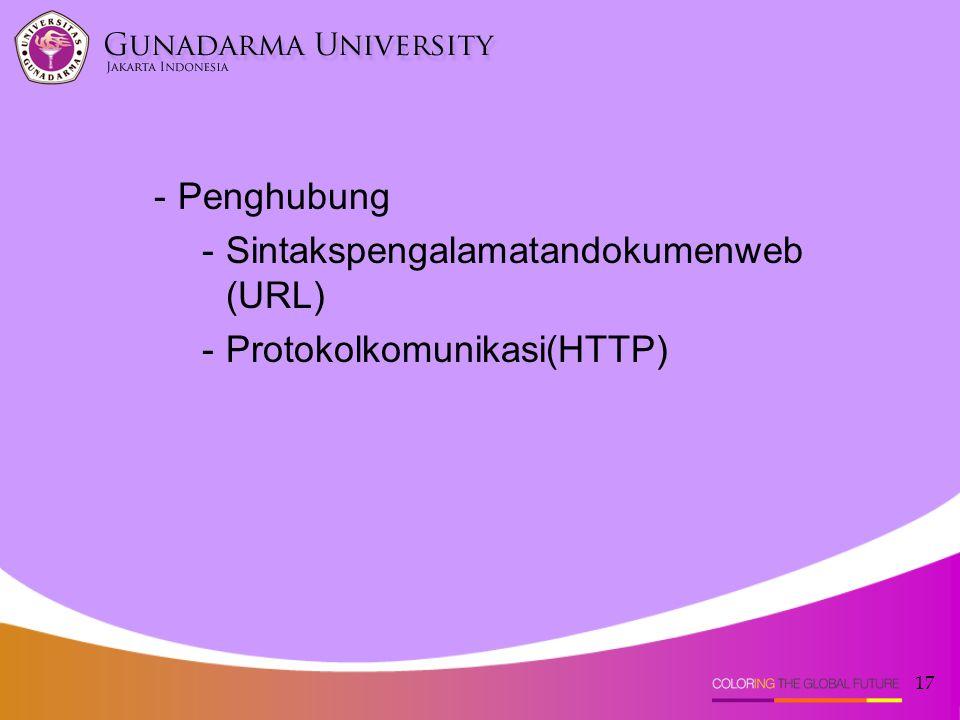 17 -Penghubung -Sintakspengalamatandokumenweb (URL) -Protokolkomunikasi(HTTP)