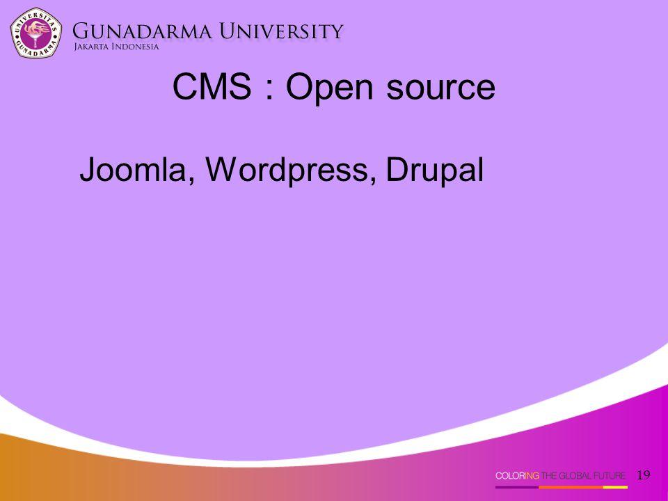 19 CMS : Open source Joomla, Wordpress, Drupal