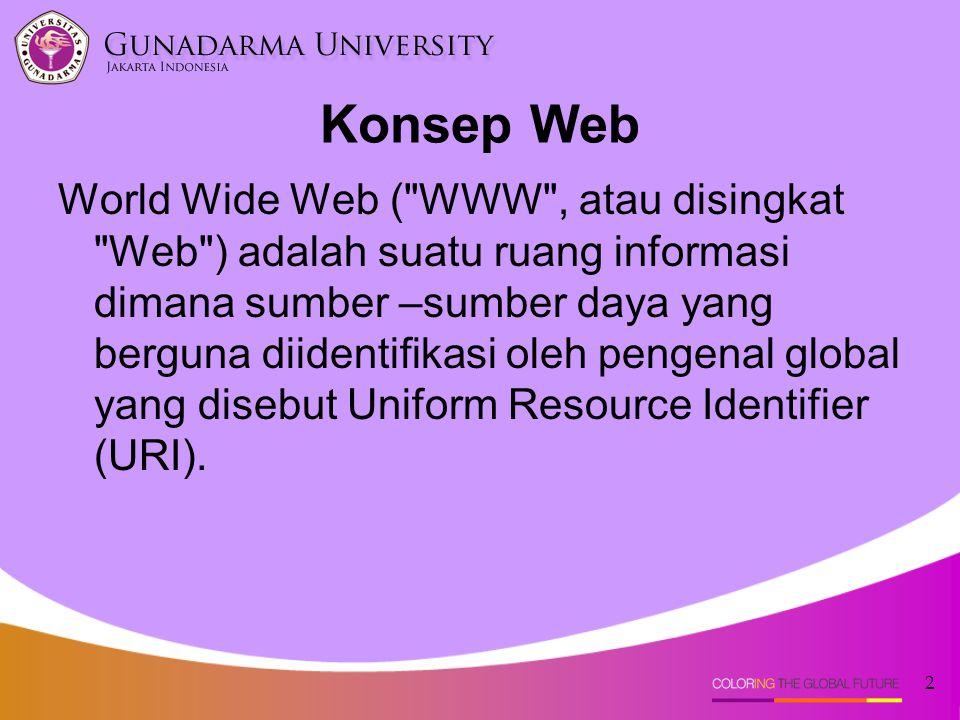 2 Konsep Web World Wide Web ( WWW , atau disingkat Web ) adalah suatu ruang informasi dimana sumber –sumber daya yang berguna diidentifikasi oleh pengenal global yang disebut Uniform Resource Identifier (URI).